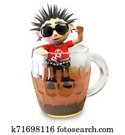 Drunk 3d punk rocker with spikey hair attempts to climb out of a pint of beer, 3d illustration