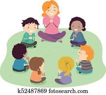 Stickman Kids Teacher Prayer Illustration
