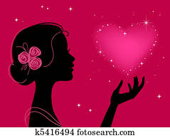 beautiful girl silhouette with star heart