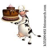 fun Cow cartoon character with cake