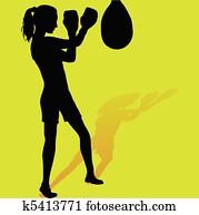 Girl boxer silhouette