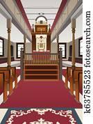 Interior of a Synagogue Illustration