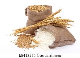 mehl, und, weizen getreide