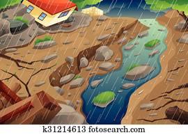 Monsoon Rain Resulting in Flood and Mudslide