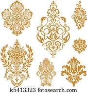 Vector Gold Damask Ornament Set