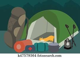 wandern ausrüstung, an, camping, vektor, karikatur