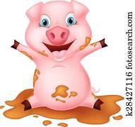 Cochon dans boue banque de photo k11806487 fotosearch - Dessin cochon debout ...