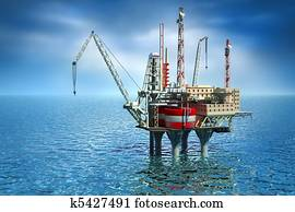 Drilling offshore Platform in sea.