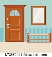 gemuetlicher, einfache, eigenheim, eingangshalle, innere, hintergrund, mit, m?bel