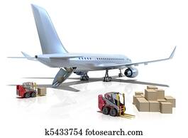 Airport : forklifts and plane