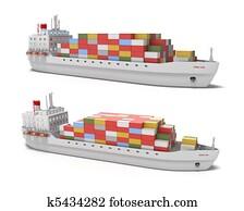 Cargo ship on white background
