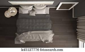 Classic bedroom, scandinavian modern style, minimalistic interior design, background, top view
