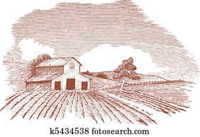 Farm Landscape with Barn