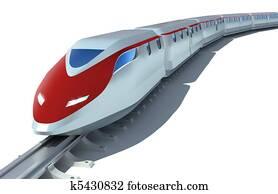 High-speed passenger train on white