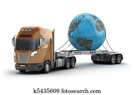 Modern truck carrying the earth