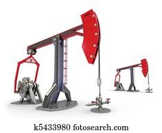 Oil Rig : Pump jacks isolated