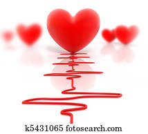 Red heart and cardiogram, isolated