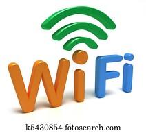 WiFi logo. 3D concept on white