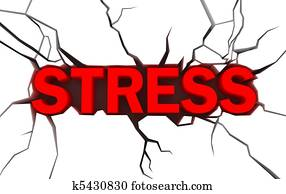 word stress in red color with crack