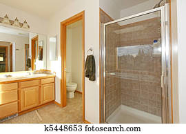 Bathroom with shower door