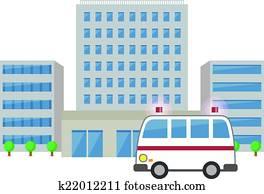 krankenwagen, und, klinikum