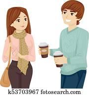 Teen Couple Students Coffee