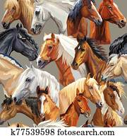 Vector seamless pattern of horses heads