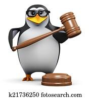 3d Penguin holds an auction