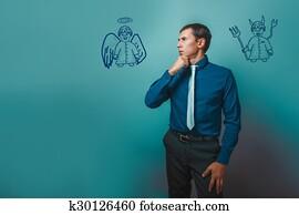 businessman man thinking looking away angel devil demon infographics