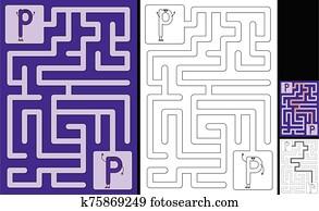 Easy alphabet maze - letter P