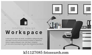 Interior design with Modern workplace background 3