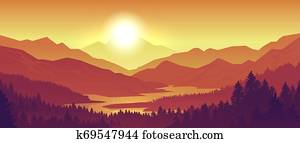 Mountain sunset landscape. Realistic pine forest and mountain silhouettes, evening wood panorama. Vector wild nature background
