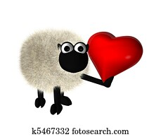 3d sheep with a red heart