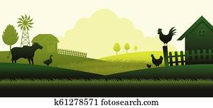 Farm with Animals Silhouette Background