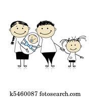 glücklich, eltern, mit, children,, neugeborenes baby, in, h?nde