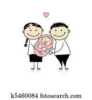 glücklich, eltern, mit, neugeborenes baby