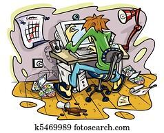 hacker working on computer in jumble room