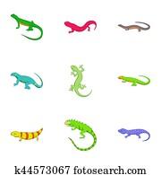 Lizard icons set, cartoon style