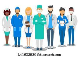 medizinische, team., krankenhaus- stab, vektor, abbildung