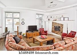 Moderne kunst deco stijl woonstudio kamer binnenste in licht