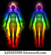 Rainbow aura of woman - silhouette