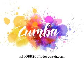 Zumba calligraphy on watercolor splash