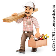 3D Carpenter walking with wooden board and toolbox