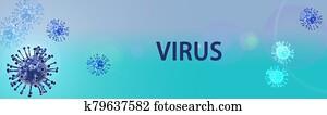banner covid virus blue style