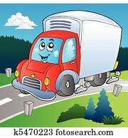 Cartoon delivery truck on road