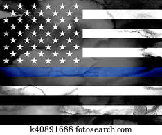 Police Support Flag Watercolor Illustration