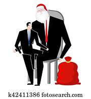 new year at work santa claus congratulates employee manager sitting on lap of boss congratulations workers celebration