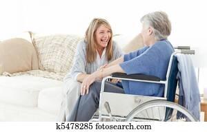 Seniors friends talking together
