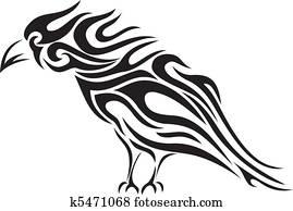 Tribal raven tattoo - vector