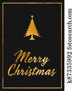 A gold leaf and black leather effect festive MERRY CHRISTMAS typographical graphic illustration with black leather background
